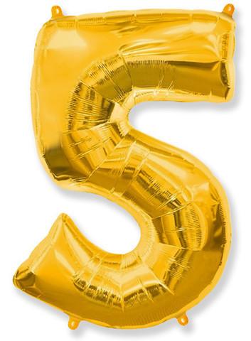 Фольгированные цифры 5 золото, 70 см (в инд. упаковке)