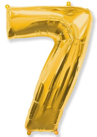 Фольгированные цифры 7 золото, 70 см (в инд. упаковке)
