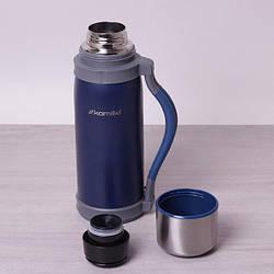 Термос для напитков Kamille 1200 мл из нержавеющей стали с ручками и ремешком питьевой термос для чая и кофе