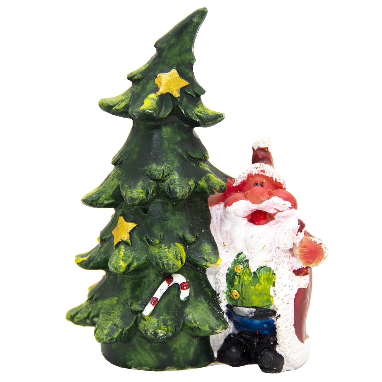 Новогодняя сувенирная фигурка Дед Мороз с елкой слева, 10 см (440528-1)