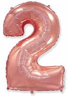 Фольгированные цифры 2 розовое золото, 70 см (в инд. упаковке)