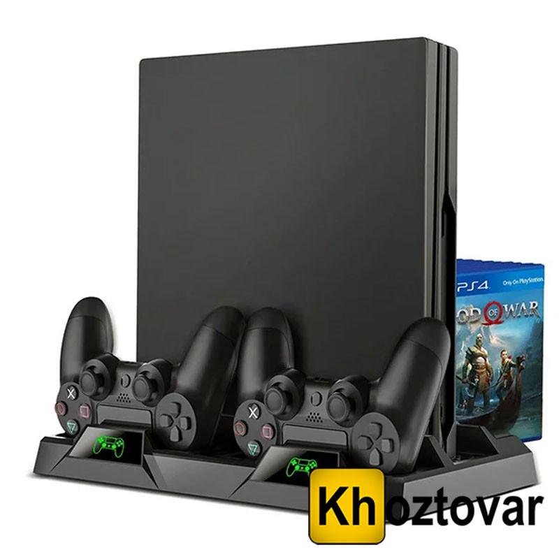 Вертикальная док-станция для PS4   Зарядка геймпадов   Охлаждение для консоли