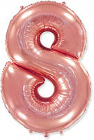 Фольгированные цифры 8 розовое золото, 70 см (в инд. упаковке)
