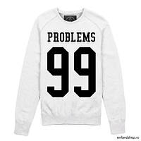 """Свитшот мужской белый с принтом """"Problems 99"""""""