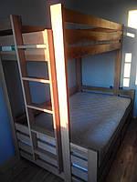 Кровать деревянная детская двухэтажная Ягнята Макси с ящиками (200х90)