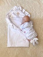 """Крестильный комплект для новорожденных детей """"Велена+Ангел"""" белый"""