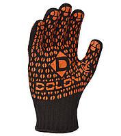 Перчатки рабочие ХБ с оранжевой ПВХ точкой Doloni Standart черные 10315, фото 1