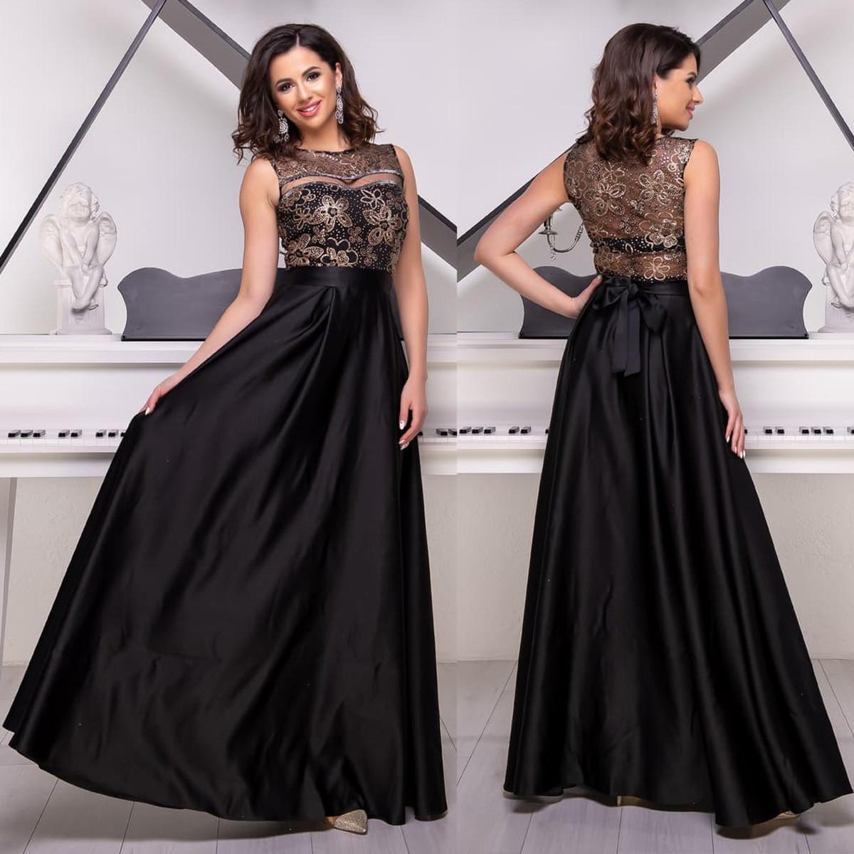"""Атласне плаття максі випускний, вечірній чорне із золотом """"Мікадо"""""""