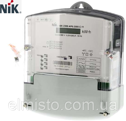 Электросчетчик NIK 2300 AP3T.1002.MC.11 3x220/380В 5(120)А 4 тарифа, реле, оптопорт, защита