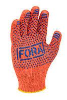 Перчатки рабочие ХБ с синей ПВХ точкой Doloni Fora оранжевые 15300, фото 1