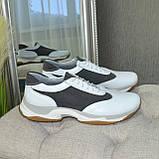Кроссовки женские на шнуровке, цвет белый/серый, фото 4