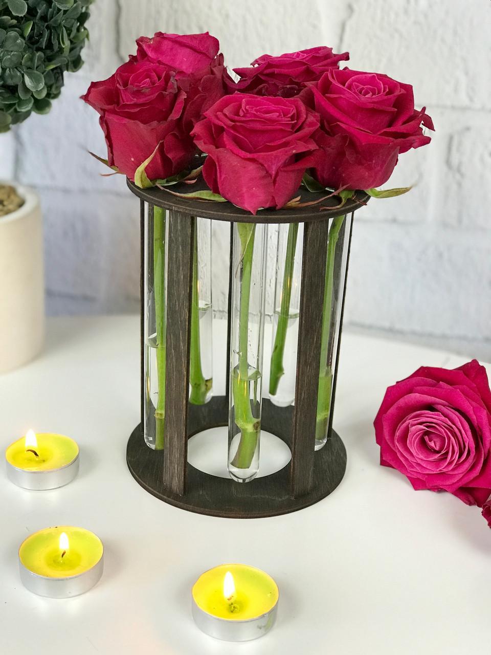 Именная подставка для цветов из дерева со стеклянными колбами