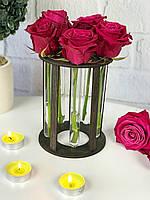 Именная подставка для цветов из дерева со стеклянными колбами, фото 1
