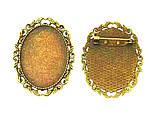 Основа для брошки Сеттінг овальна 52х40 мм античне Золото під кабошон 40х30 мм, фото 5