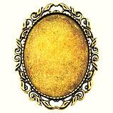 Основа для брошки Сеттінг овальна 52х40 мм античне Золото під кабошон 40х30 мм, фото 2