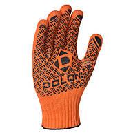 Перчатки рабочие двухсторонние ХБ с черной ПВХ точкой Doloni Universal PRO оранжевые 4470, фото 1
