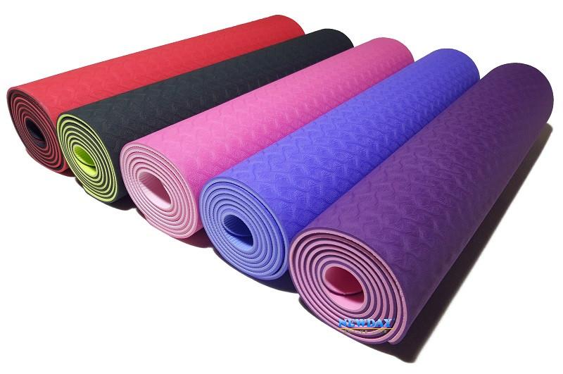 Коврик для йоги, фитнеса и аэробики 1830×610×6мм, TPE+TC, двухслойный