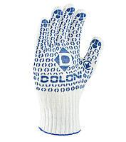 Перчатки рабочие универсальные с синей ПВХ точкой Doloni Universal белые 520, фото 1
