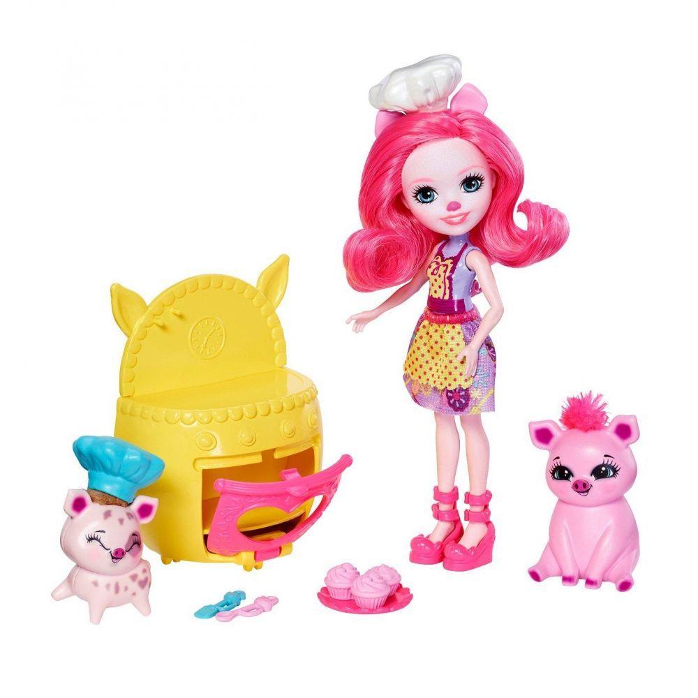 Игровой набор кукла Enchantimals Друзья с пекарни Поросенок  FJJ28