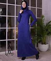 Платье макси из ангоры с воротником-капюшоном