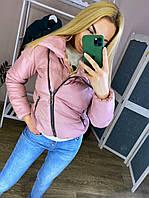 Женская теплая куртка с запахом под горло, пудровая, код G-402