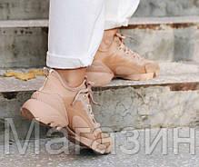 Женские кроссовки Dior D-Connect Nude Beige (Кристиан Диор) бежевые, фото 2