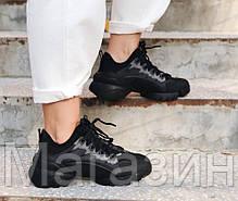 Женские кроссовки Dior D-Connect Black (Диор) черные, фото 2