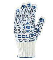 Перчатки рабочие двухсторонние с синей ПВХ точкой Doloni Universal белые 880, фото 1