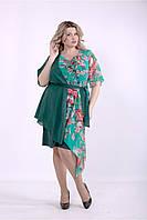 01388-2 | Зеленое асимметричное платье нарядное большого размера