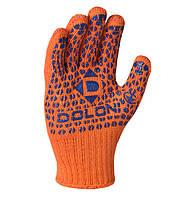Перчатки рабочие двухсторонние c синей ПВХ точкой Doloni Standart Plus оранжевые 584, фото 1