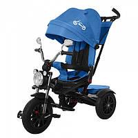 Велосипед трехколесный для мальчиков с ручкой родительской и с фарой Tilly Tornado Т-383 синий