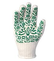 Перчатки садовые c зеленой ПВХ точкой Doloni белые 620, фото 1