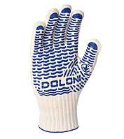 Перчатки рабочие с синей ПВХ точкой ХБ Doloni Universal Волна белые 621, фото 1