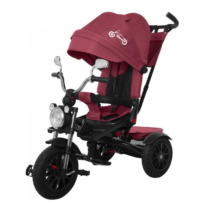 Велосипед трехколесный детский с надувными колесами и ручкой для родителей Tilly Tornado Т-383 красный