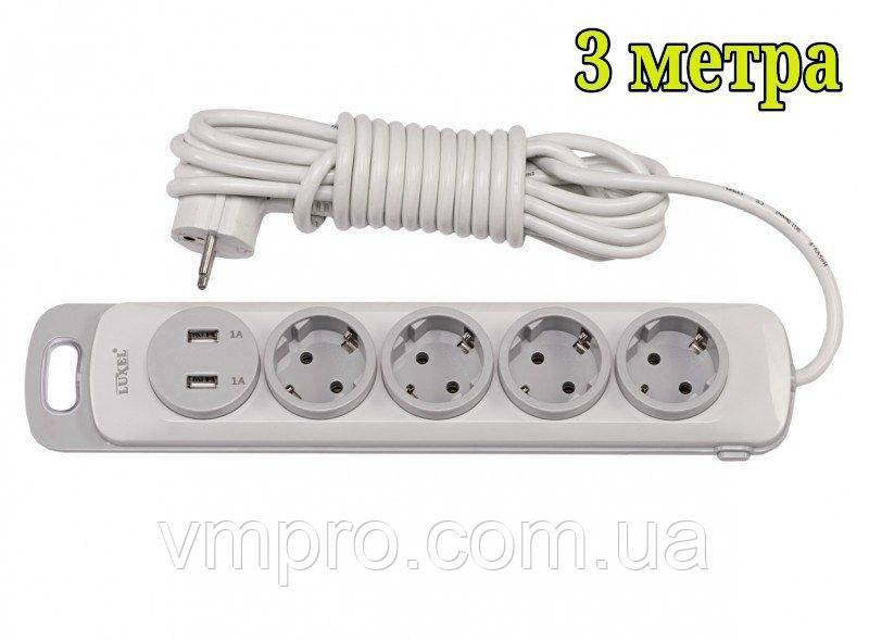Сетевой удлинитель Luxel Nota 2 USB, 4 розетки и выключатель