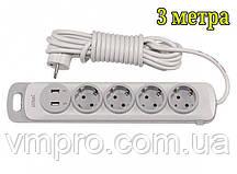 Мережевий подовжувач Luxel Nota 2 USB, 4 розетки і вимикач