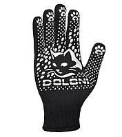 Перчатки садовые с белой ПВХ точкой Doloni КотоФан черные 4894, фото 1