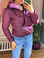 Женская теплая куртка с запахом под горло, бордовая, код G-402