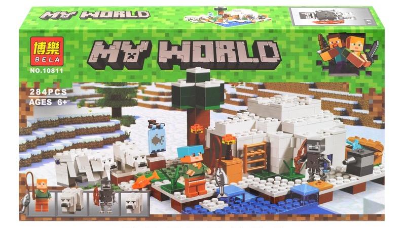 """Конструктор Bela Майнкрафт Полярное иглу аналог Lego Minecraft """"Домик для рыбалки"""" 284 детали scs"""