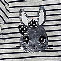 """Кофта для девочки  H&M трехнить 3-4г/104 см на весну плотная кофточка """"Зайчик"""" переворот пайеток, фото 4"""