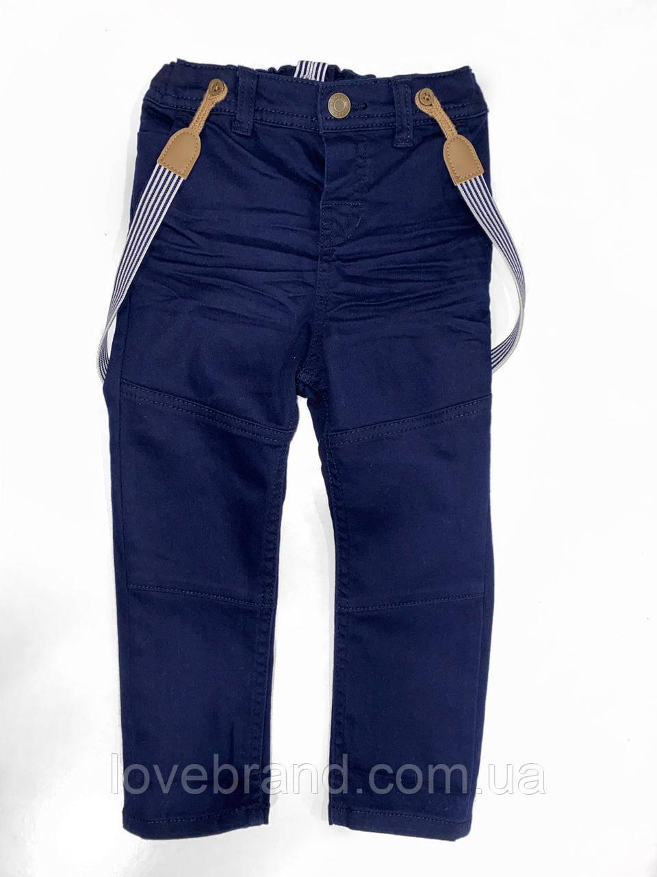 Штаны на подтяжки для мальчика H&M  синие детские брюки с подтяжками для самых маленьких 1,5-2г /92 см