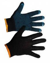 Перчатки черная с ПВХ точкой 5 нитей 10пар/уп
