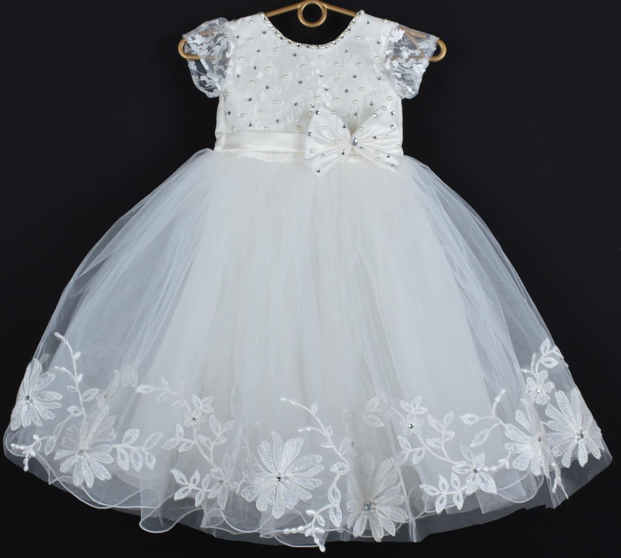 """Платье нарядное детское """"Исабель"""" с аппликацией 4-6 лет. Молочное. Оптом и в розницу"""