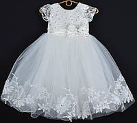 """Платье нарядное детское """"Исабель"""" с аппликацией 4-6 лет. Молочное. Оптом и в розницу, фото 1"""