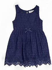 Красивое ажурное платье для девочки H&M синее в школу, нарядное платье ейч енд ем 4-6 л./110-116 см