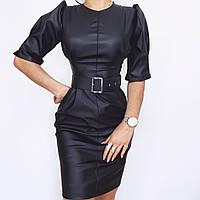 Женское платье с объемными рукавами, черное, код G-123