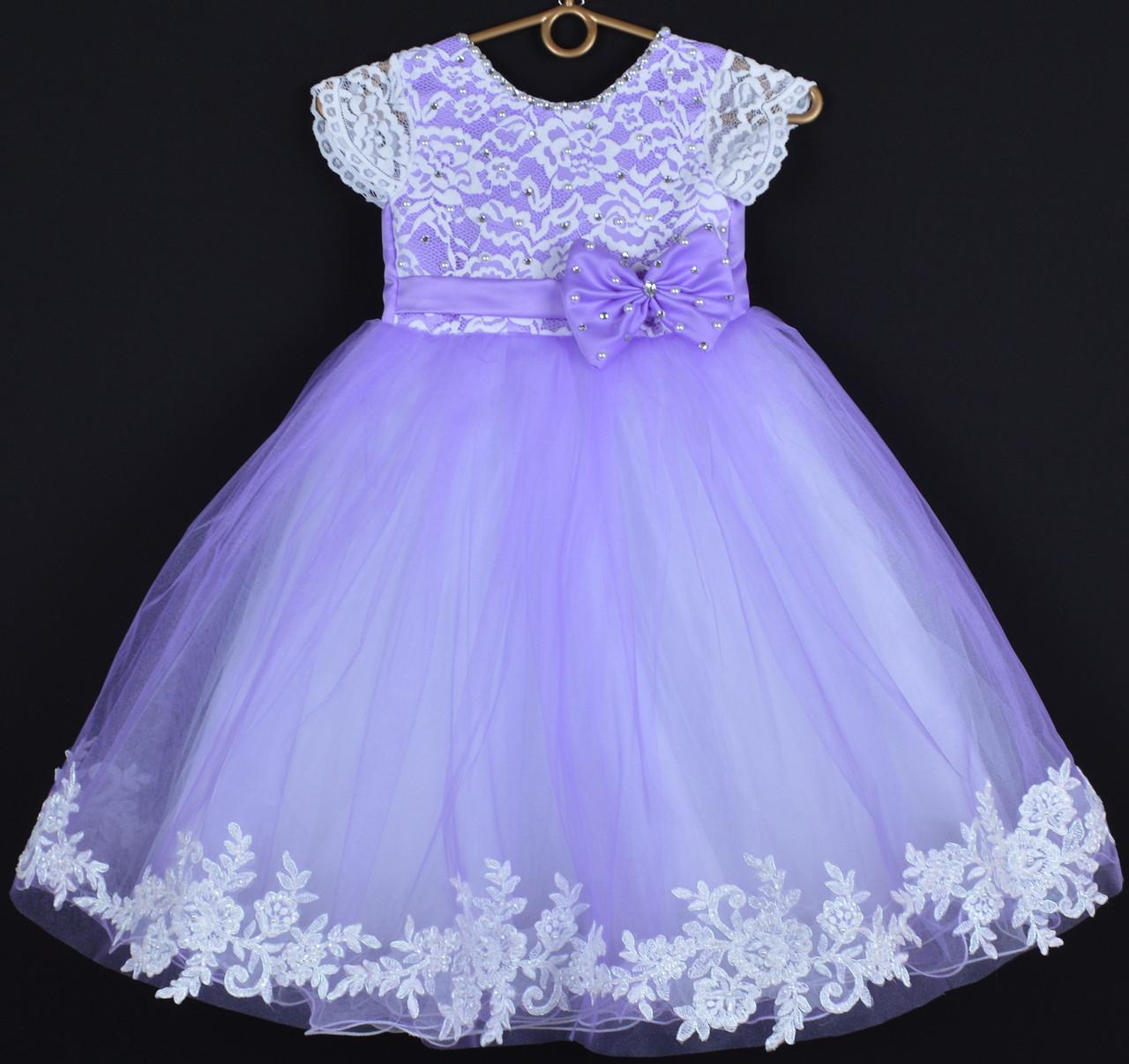 """Платье нарядное детское """"Исабель"""" с аппликацией 4-6 лет. Сиреневое. Оптом и в розницу"""