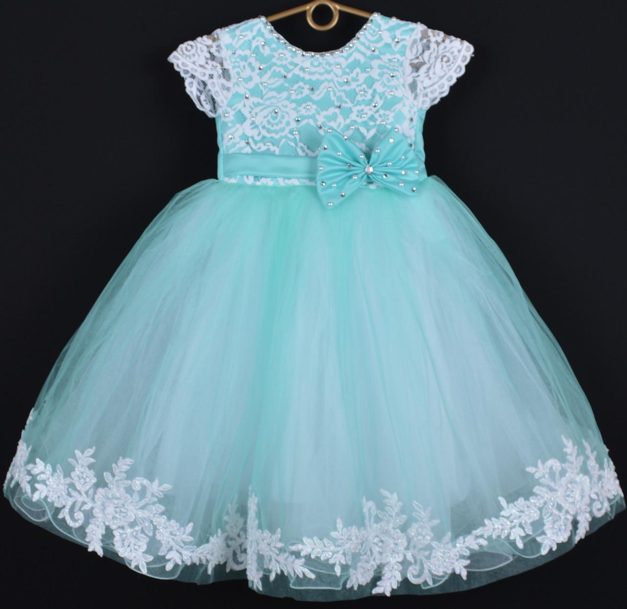 """Платье нарядное детское """"Исабель"""" с аппликацией 4-6 лет. Мята. Оптом и в розницу"""