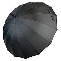 Полуавтоматический мужской зонт-трость на 16 спиц от MAX, черный, 1003-1