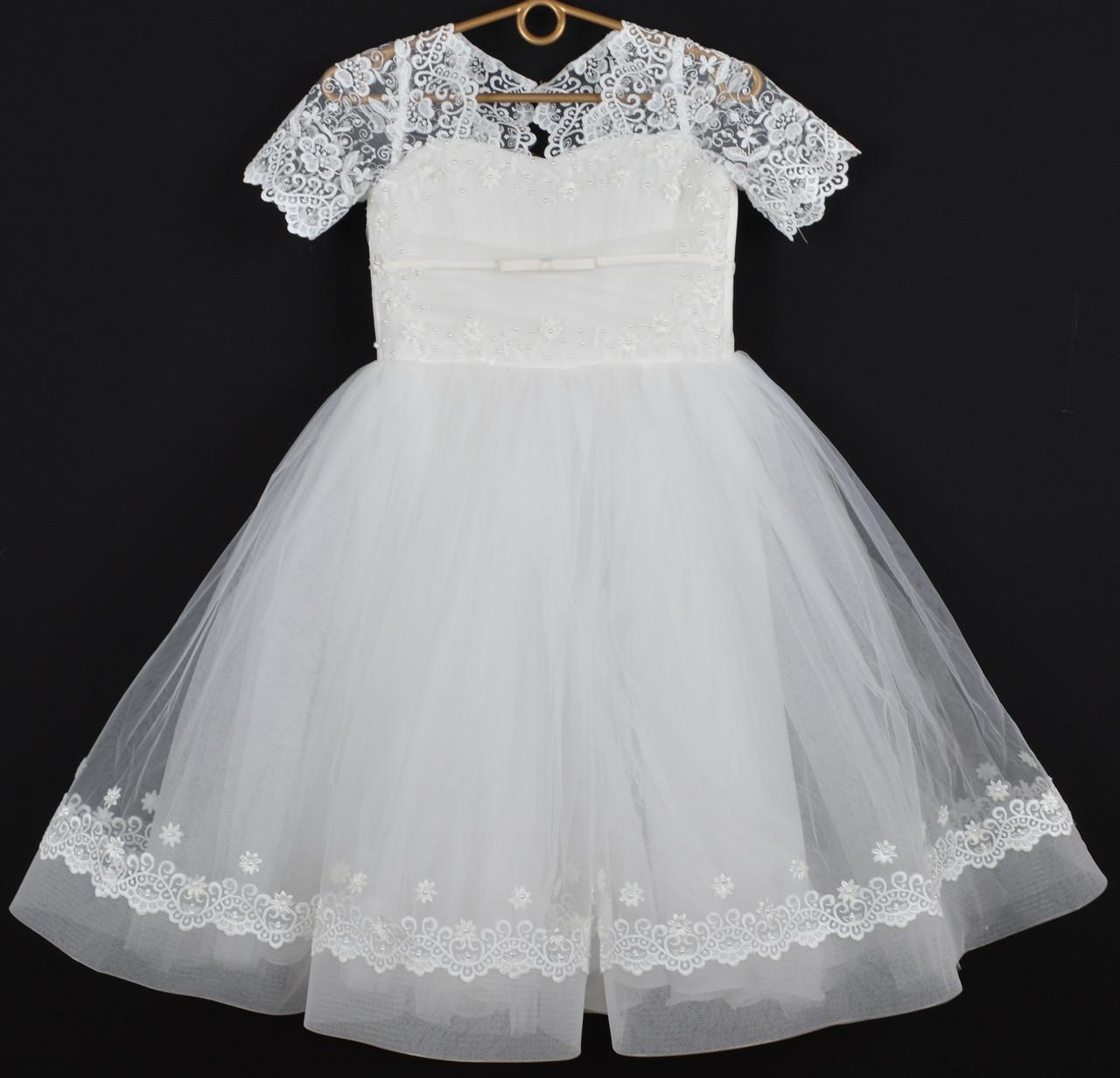 """Платье нарядное детское """"Жасмин"""" 7-8 лет. Молочное. Оптом и в розницу"""